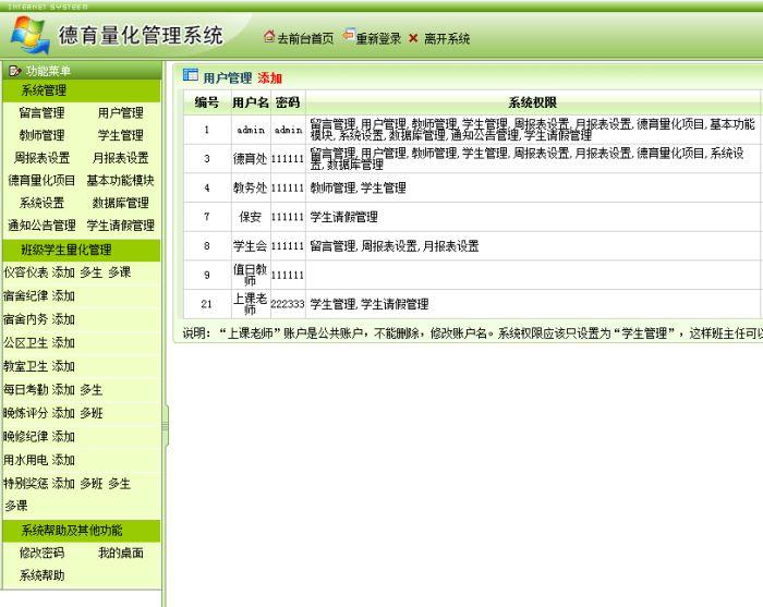 德育量化管理系统-用户管理